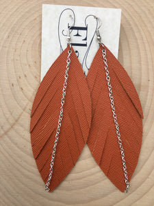 Burnt Orange Feathers with Silver Chain