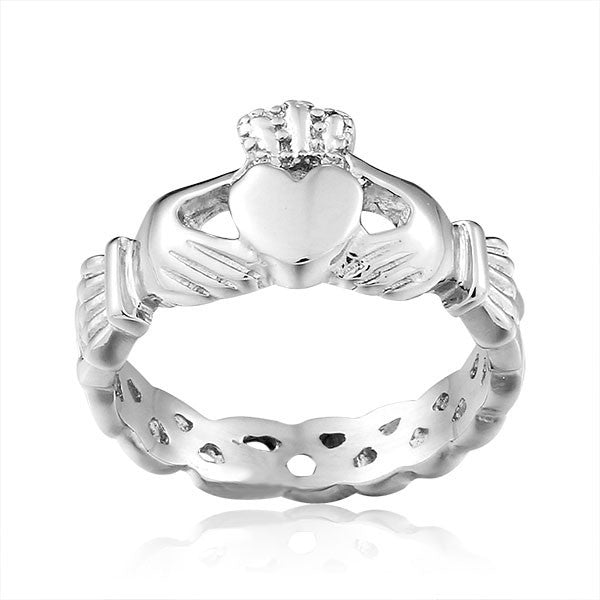 Traditional Style Stainless Steel Claddagh