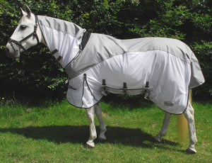 Rhinegold Masai 2 Full Neck Fly Rug with waterproof topline - Silver Grey