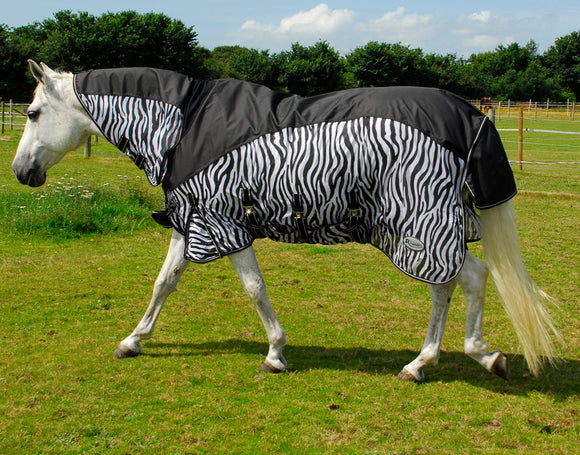 Rhinegold Masai 2 Full Neck Fly Rug with waterproof topline - Zebra Print