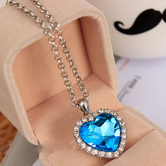 OPPOHERE Crystal Pendant  Heart Necklace Classic Titanic Ocean Crystal Heart Pendant Necklace Rhinestone Lover Gift