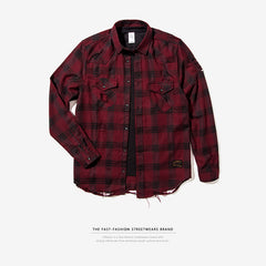 INFLATION 2017 Autumn & Winter Mens Flannel Ripped Shirts Mens Hip Hop  Shirts Long Sleeve Ripped Streetwear Mens Shirts 002W17