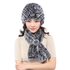 YWMQFUR New Knitted genuine natural rex rabbit fur hat cap headgear for women with warmer rex rabbit Knitted fur scarf shawl H40