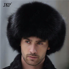 bomber leather hat men winter hats with earmuffs trapper earflap cap man real raccoon fur black fox hatska
