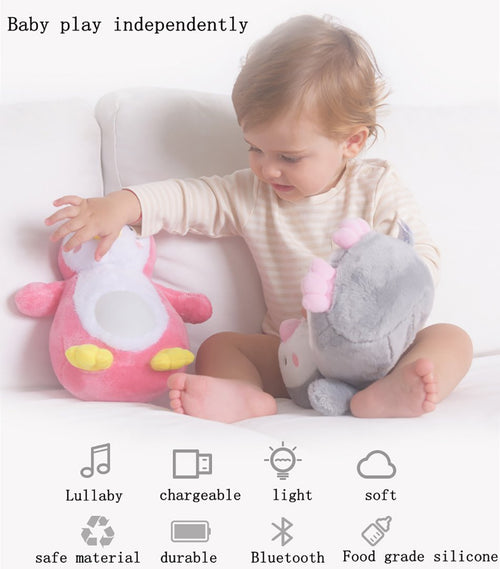 Plush Penguin Musical Night Light and Educational Crib Buddy for Baby and Toddlers