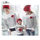 Family Matching Outfits for 3 Families Autumn Clothing 2017 Cotton Red Love Baby Mom Dad Striped Tops Long Sleeve T-Shirt White