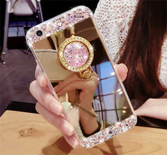 For iPhone 7 Plus For iphone X 8 / 8 Plus ,Luxury Diamond Soft Mirror With 360 Ring Case For iPhone 6 6S Plus 5 5S SE 4 4s Case