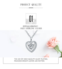 YL Real 925 Sterling Silver Heart Necklace Dancing Natural Topaz Pendant Women Fine Jewelry Valentine's Day Gift