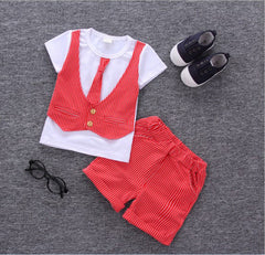 2018 Hot Boys summer clothes sets children letter T-shirt pants kids handsome suits