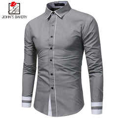 2017 New Fashion Brand Men Shirt Color Stitching Dress Shirt Long Sleeve Slim Fit Camisa Masculina Casual Male Shirts White 3XL