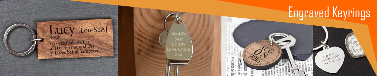 A collection of engraved personalised keyrings, including wooden and metal keyrings which can be personalised with a message.