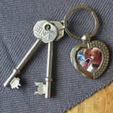 Personalised Metal Photo Heart Keyring