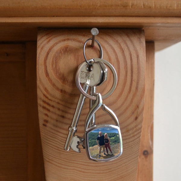 Personalised keyring made of metal in a square shape