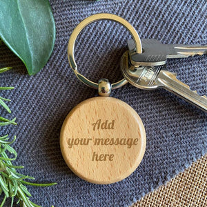 Personalised Wooden Circle Keyring