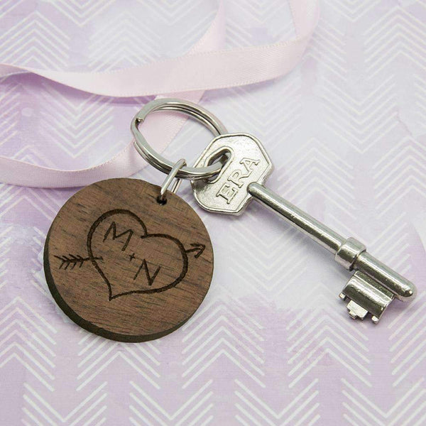 Carved Tree Round Wooden Keyring with Initials,