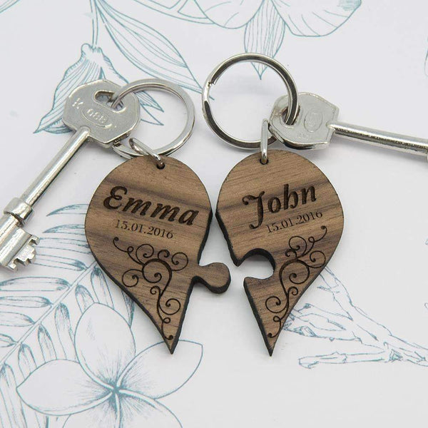 Couples' Romantic Joining Heart Keyring,