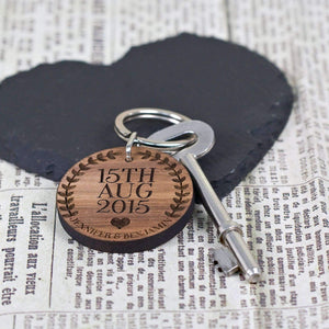 Custom Special Date Keyring - Circular Wreath and Heart Design,