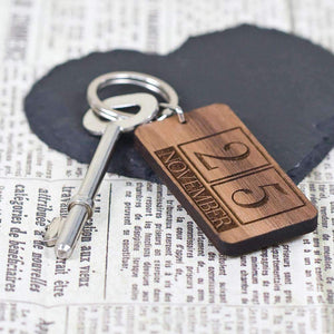 Custom Special Date Keyring - Rectangle Calendar Design,