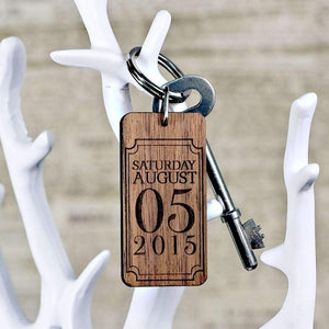 Custom Special Date Keyring - Rectangle Frame Design,