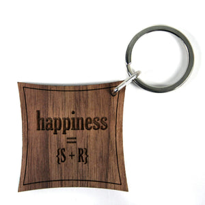 Happiness Equation Walnut Keyring,