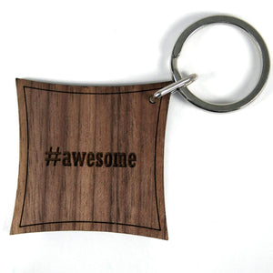 Hashtag Walnut Keyring: Awesome,