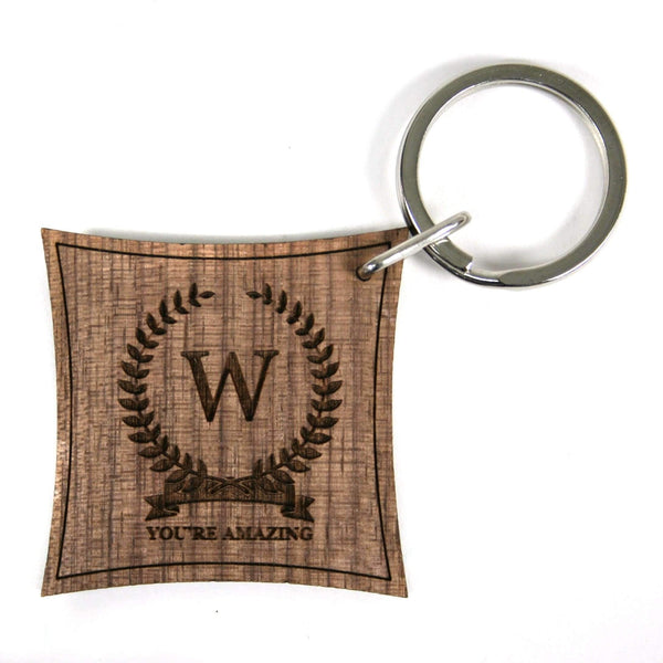 Initial of Honour Walnut Keyring With Personalisation,