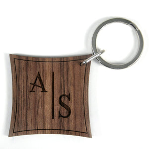 Monogram Stylised Initial Walnut Keyring,