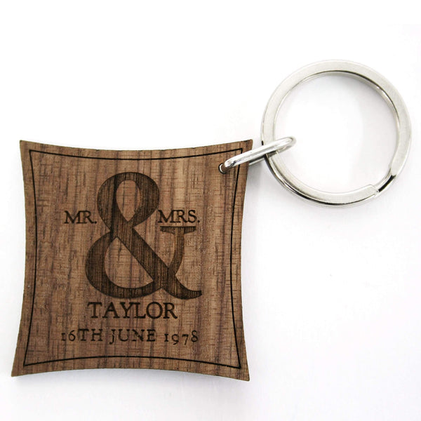 Mr and Mrs Roman Ampersand Walnut Keyring,