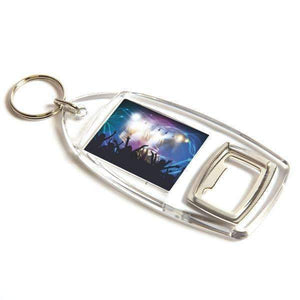 Personalised Bottle Opener Rectangular Plastic Photo Keyring,