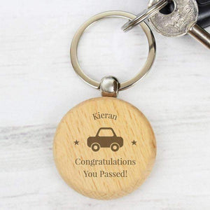 Personalised 'Car Motif' Wooden Keyring,