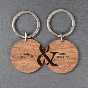 Personalised Couples Set of Two Wooden Keyrings,