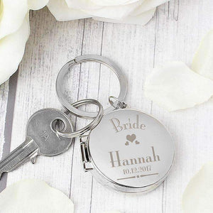 Personalised Decorative Wedding Bride Round Photo Keyring,