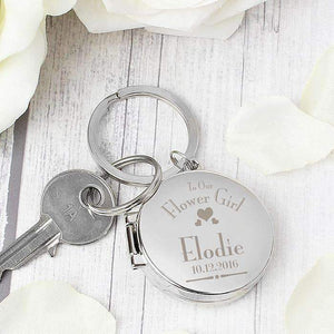 Personalised Decorative Wedding Flower Girl Round Photo Keyring,
