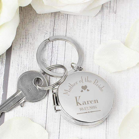 Personalised Decorative Wedding Mother of the Bride Round Photo Keyring,