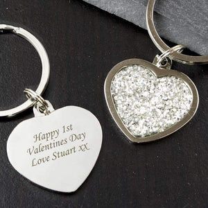 Personalised Diamante Heart Keyring,