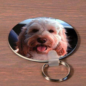 Personalised Double Sided Circle Photo Plastic Keyring,