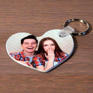 Personalised Double Sided Heart Photo Plastic Keyring,