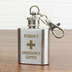 Personalised Emergency Supply 1oz Stainless Steel Hip Flask Keyring,