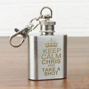 Personalised Keep Calm 1oz Hip Flask Keyring,