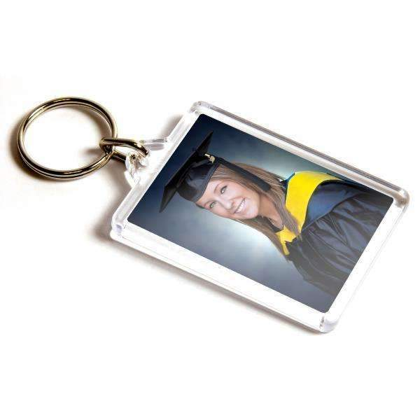 Personalised Medium Rectangular Plastic Photo Keyring,