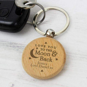 Personalised Moon & Back Wooden Keyring,