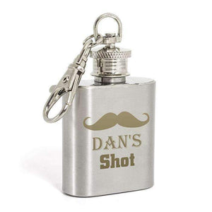 Personalised Moustache 1oz Hip Flask Keyring,