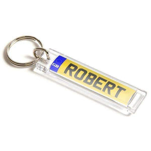 Personalised Number Plate Shape Plastic Keyring,