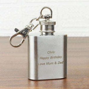 Personalised Stainless Steel 1oz Hip Flask Keyring,