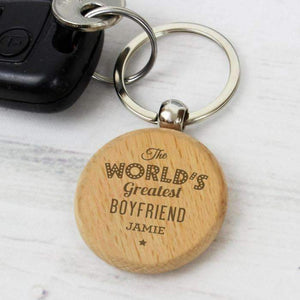 Personalised 'The World's Greatest' Wooden Keyring,