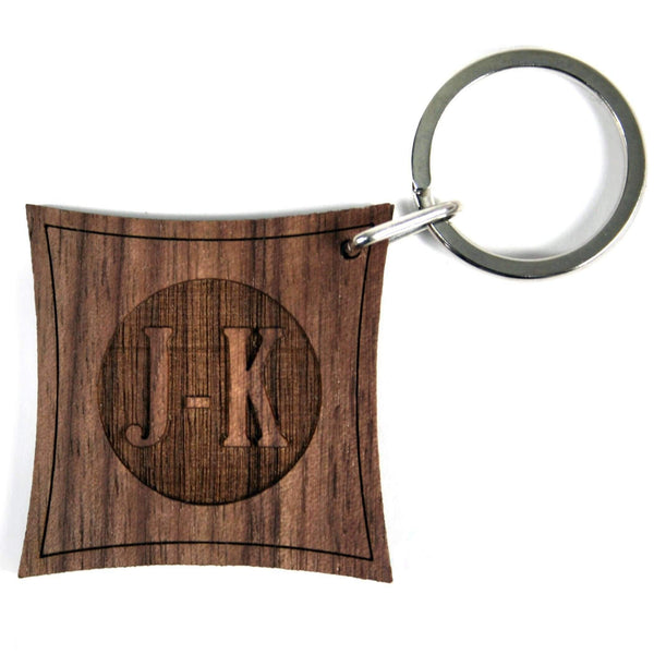 Reverse Contemporary Monogram Walnut Keyring,