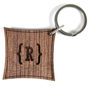 Swirl Bracket Monogram Walnut Keyring,