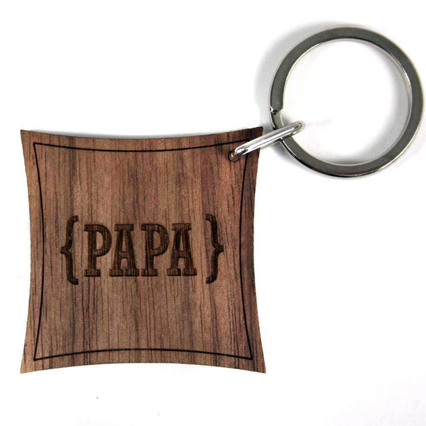 Swirl Brackets With Open Personalisation Walnut Keyring,