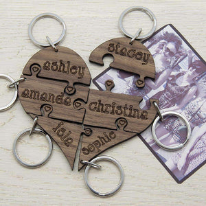 To Our Bridesmaid Heart Jigsaw Wooden Keyring,