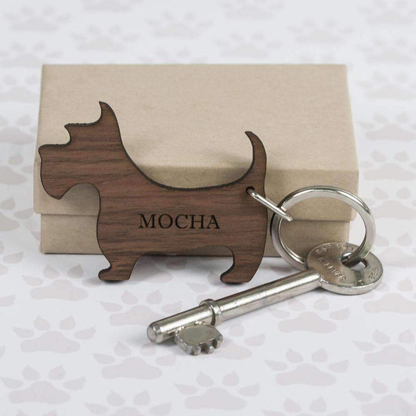 Walnut Wood Dog Shaped Keyring,
